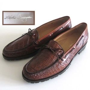 new MARTIN DINGMAN Crocodile bow-tie loafers 11.5